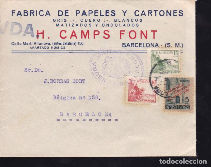 CM2-34- CARTA FÁBRICA PAPELES BARCELONA 1939 . CENSURA (Sellos - España - Guerra Civil - De 1.936 a 1.939 - Cartas)
