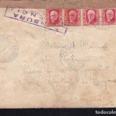 Sellos: CM2-38- CARTA TARAZONA (ALBACETE)- FRANCIA 1937. CENSURA VALENCIA. Lote 158239726