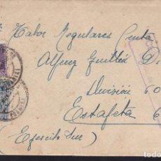 Sellos: CM2-42-CARTA AL FRENTE. SANLUCAR DE BARRAMEDA- REGULARES CEUTA 1938.LOCAL Y CENSURA . CON TEXTO. Lote 158243218