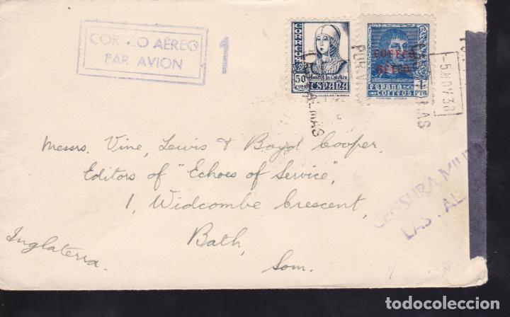 F4-61- CARTA LAS PALMAS- INGLATERRA 1938. CENSURA . LUJO (Sellos - España - Guerra Civil - De 1.936 a 1.939 - Cartas)