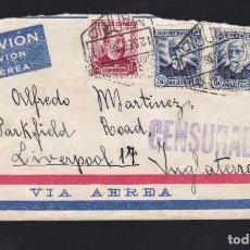 Sellos: CM2-45- CARTA MADRID - INGLATERRA 1936. CENSURADA. 1 SELLO VARIEDAD AUREOLA BLANCA. Lote 158250970