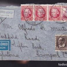 Sellos: CM2-50- CARTA LUCENA DEL CID (CASTELLÓN). LIVERPOOL 1936. CENSURA . Lote 158264042