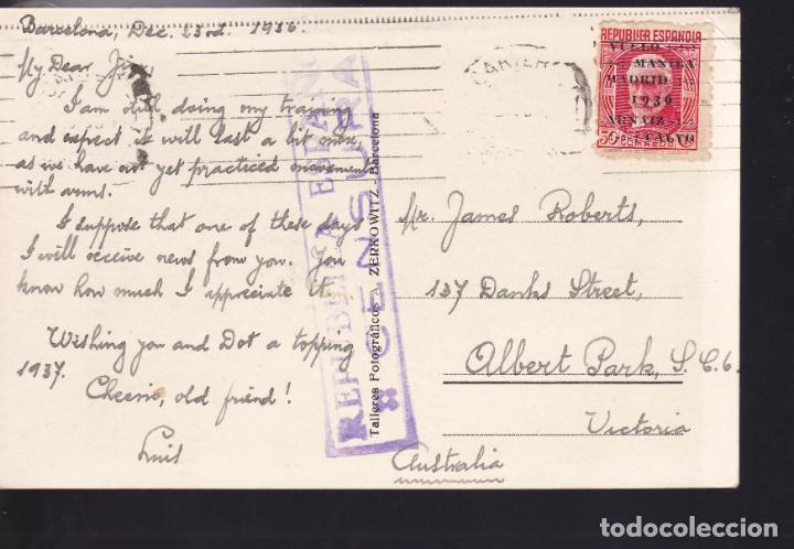 Sellos: CM2-58- Postal TIBIDABO BARCELONA - AUSTRALIA 1936. Sello Vuelo Manila-MADRID - Foto 2 - 158274986