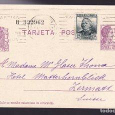 Sellos: CM2-58- ENTERO POSTAL SAN SEBASTIAN- SUIZA 1936. FRANQUEO COMPLEMENTARIO. Lote 158275886