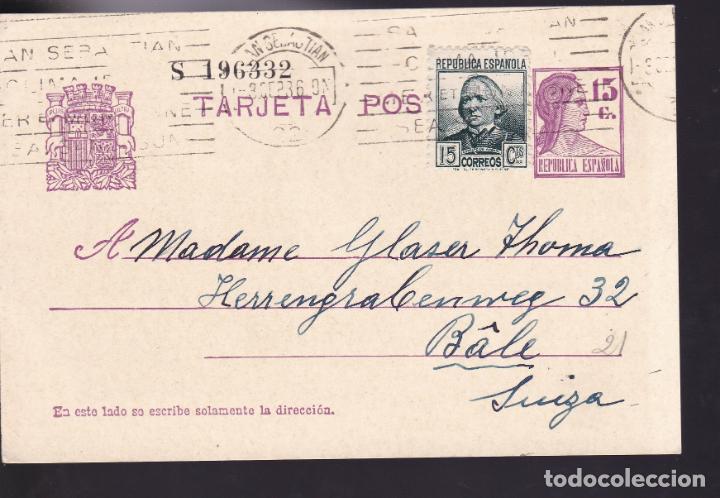 CM2-59- ENTERO POSTAL SAN SEBASTIAN- SUIZA 1936. FRANQUEO COMPLEMENTARIO (Sellos - España - Guerra Civil - De 1.936 a 1.939 - Cartas)