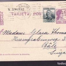 Sellos: CM2-59- ENTERO POSTAL SAN SEBASTIAN- SUIZA 1936. FRANQUEO COMPLEMENTARIO. Lote 158276254