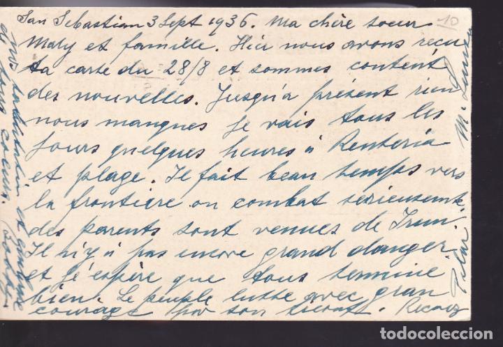Sellos: CM2-59- Entero Postal SAN SEBASTIAN- SUIZA 1936. Franqueo Complementario - Foto 2 - 158276254