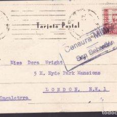 Sellos: CM2-62- POSTAL SAN SEBASTIAN- LONDRES 1937. CENSURA. TEXTO INGLÉS ATAQUE A BILBAO. Lote 158282782