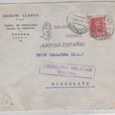 Sellos: SOBRE ADOLFO LLANOS FÁBRICA DE TORNILLERÍA TOLOSA GUIPUZCOA. CENSURA MILITAR.. Lote 158296334