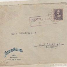Sellos: SOBRE CON CENSURA MILITAR VILLENA ALICANTE. INDUSTRIAS CATURIA. . Lote 158419738
