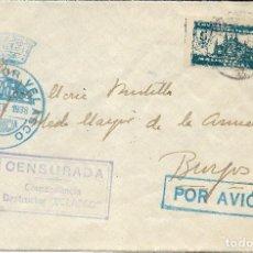 Sellos - España. Carta circulada de Mallorca a Burgos con sellos y Franquicia Naval - 158424726
