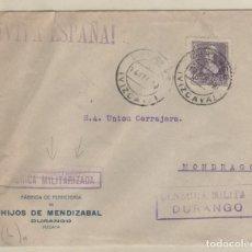 Sellos: SOBRE CON CENSURA MILITAR DURANGO. FÁBRICA MILITARIZADA. HIJOS DE MENDIZABAL VIZCAYA.. Lote 158690778