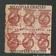 Sellos: GUERRA CIVIL ESPAÑOLA 1936 BLOQUE DE 6 SELLOS COLECTIVIDAD INDUSTRIA Y ALIMENTACION BARCELONA CNT. Lote 158730054