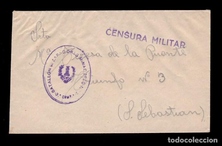 *** RARA CARTA SAN SEBASTIÁN, FRANQUICIA BATALLÓN DE ZAPADORES MINADORES Nº3, 3ª COMPAÑÍA *** (Sellos - España - Guerra Civil - De 1.936 a 1.939 - Cartas)