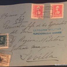 Timbres: ALMENDRALEJO (BADAJOZ). 1938. CIRCULADA A GENERAL EN JEFE DE LOS EJÉRCITOS DEL SUR EN SEVILLA.. Lote 158929956