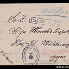 Sellos: ** RARA CARTA 1938 PROAZA-GIJÓN (ASTURIAS), CENSURA Y RGTO. ARTILLERÍA DE COSTA Nº2, 37º BATERÍA **. Lote 158932710