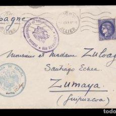 Sellos: ** CARTA 1941 VICHY (FRANCIA)-ZUMAYA (GUIÙZCOA). FRANQ. EMBAJADA DE ESPAÑA PARIS-VICHY + CENSURA **. Lote 159096106