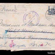 Sellos: *** CARTA 1940 ZUMAYA-PARÍS. CENSURA GOBIERNO CIVIL DE GUIPÚZCOA - SAN SEBASTIÁN - 533 ***. Lote 159148050