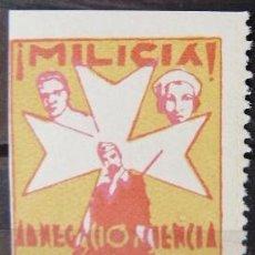 Sellos: ESPAÑA GUERRA CIVIL - VIÑETAS MILICIA ASISTENCIA SOCIAL - REUS TARRAGONA NUEVO * CON FIJASELLO. Lote 159454238