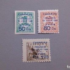 Sellos: ESPAÑA - GUERRA CIVIL - CANARIAS - EDIFIL 11/13 - SERIE COMPLETA - MH* - NUEVOS. . Lote 159565890