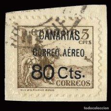 Sellos: CANARIAS. 1937.SELLOS REPUBLICANOS NACIONALES HABILITADOS.80C S 5C.FRAGMENTO. EDIF. Nº 25. Lote 159577710