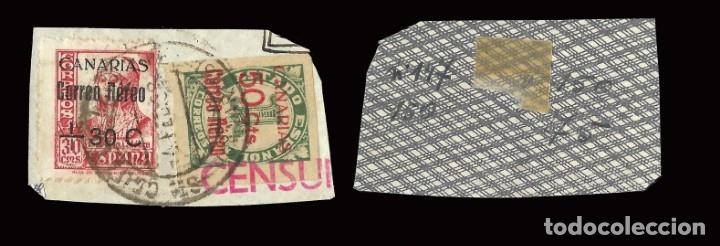 Sellos: Fragmento CENSURA.Matasello 4 Febrero 1938. Edifil 40-37 - Foto 3 - 159578890