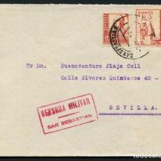 Sellos: GUERRA CIVIL, SOBRE, VIÑETA, CIRCULADO DESDE SEVILLA A SAN SEBASTIÁN, 1938. Lote 159593078