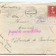 Sellos: CARTA CON SOBRE, CENSURA MILITAR VITORIA, MATASELLOS DE RODILLO 9-11-38, EL ACEITE DE OLIVA. Lote 159772654