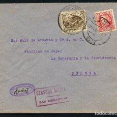 Sellos: GUERRA CIVIL, SOBRE, VIÑETA, FRANQUEO MIXTO, SAN SEBASTIÁN A TOLOSA, 1937. Lote 159779426