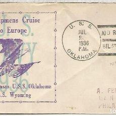 Timbres: GUERRA CIVIL ESPAÑOLA CC DESDE EL BUQUE USS OKLAHOMA EN SU ESCALA DE BILBAO PARA AYUDA A REFUGIADOS . Lote 159842526