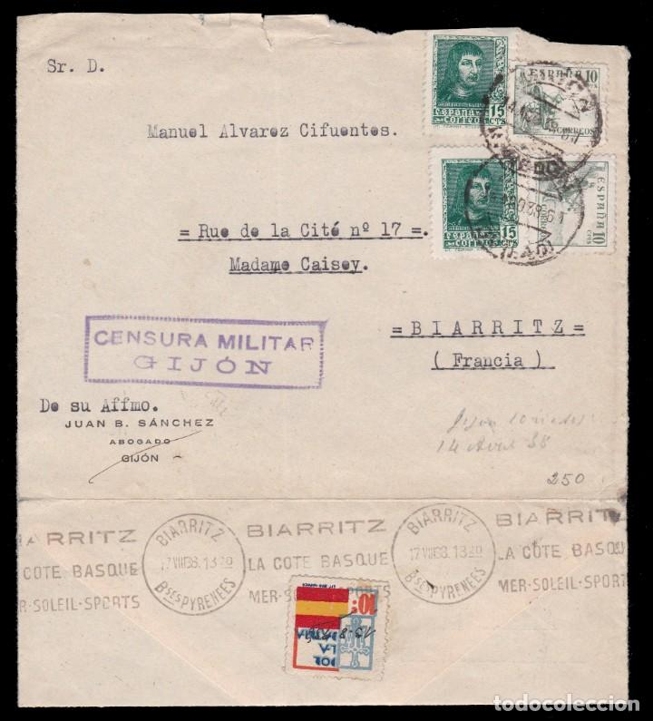 *** CARTA GIJÓN (ASTURIAS)-BIARRITZ (FRANCIA) 1938. CENSURA MILITAR GIJÓN. *** (Sellos - España - Guerra Civil - De 1.936 a 1.939 - Cartas)