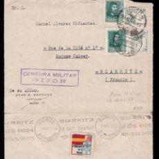 Sellos: *** CARTA GIJÓN (ASTURIAS)-BIARRITZ (FRANCIA) 1938. CENSURA MILITAR GIJÓN. ***. Lote 159873218