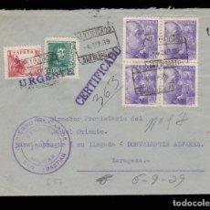Sellos: *** CARTA URGENTE SAN SEBASTIAN-ZARAGOZA 1939. CENSURA E.M. GOBIERNO MILITAR SAN SEBASTIÁN ***. Lote 159885974