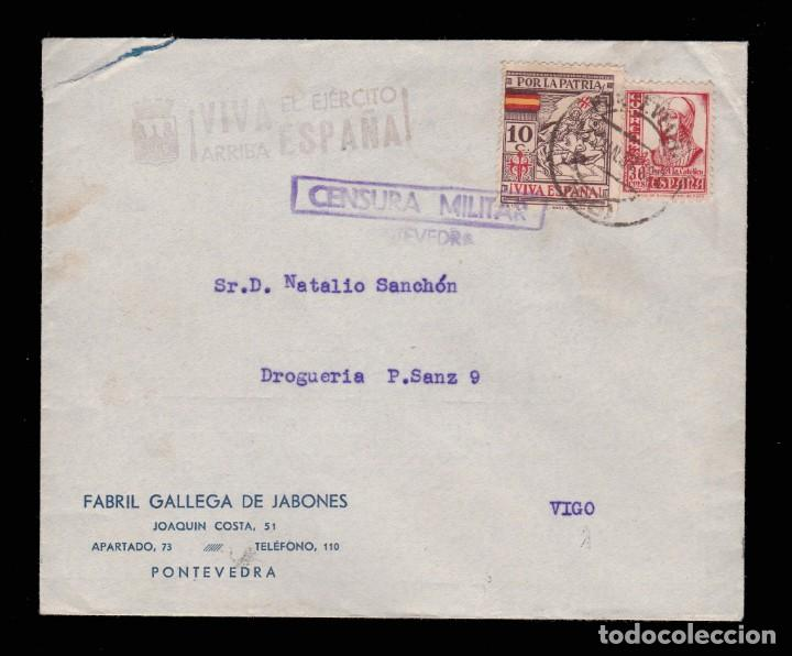 *** CARTA PONTEVEDRA-VIGO 1937. CENSURA MILITAR PONTEVEDRA Y MARCA ARRIBA ESPAÑA DE PONTEVEDRA *** (Sellos - España - Guerra Civil - De 1.936 a 1.939 - Cartas)