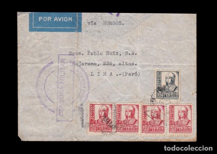 *** CARTA ZUMARRAGA (GUIPUZCOA)-LIMA (PERÚ) 1937. CENSURA MILITAR ZUMARRAGA. RARA *** (Sellos - España - Guerra Civil - De 1.936 a 1.939 - Cartas)