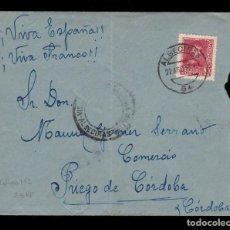 Sellos: *** CARTA ALGECIRAS-PRIEGO DE CÓRDOBA 1938. VISADO POR A CENSURA ALGECIRAS + BENÉFICO CADIZ *** . Lote 160035278