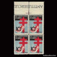 Sellos: SELLOS ESPAÑA.1937. PRO TUBERCULOSIS. BLOQUE 4.10C NEGRO AZUL ROJO. BLOQUE 4. NUEVO**. EDIF. Nº 840. Lote 160043994