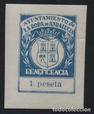 LA RODA DE ANDALUCIA--SEVILLA.-- 1 PTA, -BENEFICENCIA-- ALLEPUZ Nº 1,NUEVO. VER FOTO (Sellos - España - Guerra Civil - De 1.936 a 1.939 - Usados)