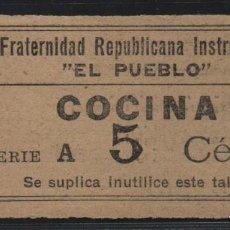 Sellos: FRATERNIDAD REPUBLICANA --EL PUEBLO-- 5 CTS,--COCINA-- VER FOTO. Lote 160170394