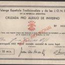 Sellos: REPUBLICA ARGENTINA--FALANGE-- 10 PESOS, --CRUZADA PRO AUXILIO DE INVIERNO-- VER FOTO. Lote 160171670