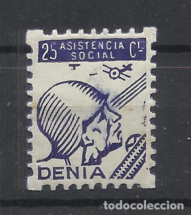 DENIA ASISTENCIA SOCIAL 25 CTS NUEVA* (Sellos - España - Guerra Civil - Locales - Nuevos)