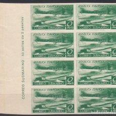 Sellos: ESPAÑA, 1938 EDIFIL Nº 776CCD, CAMBIO DE COLOR BLOQUE DE OCHO SIN DENTAR BORDE DE HOJA. . Lote 160518202
