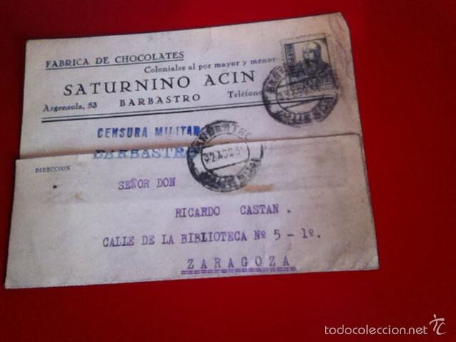 CENSURA MILITAR BARBASTRO- FÁBRICA DE CHOCOLATES1938 (Sellos - España - Guerra Civil - De 1.936 a 1.939 - Cartas)