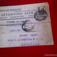 Sellos: CENSURA MILITAR BARBASTRO- FÁBRICA DE CHOCOLATES1938. Lote 160694978