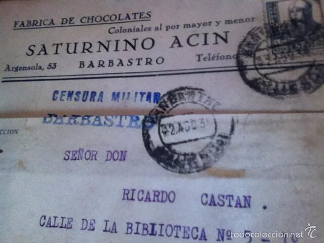 Sellos: Censura Militar BARBASTRO- Fábrica de Chocolates1938 - Foto 3 - 160694978