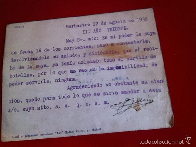 Sellos: Censura Militar BARBASTRO- Fábrica de Chocolates1938 - Foto 5 - 160694978