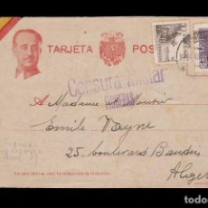 Sellos: *** TARJETA FIGUERAS (BARCELONA)-ALGER 1939. CENSURA MILITAR FIGUERAS (RARA) ***. Lote 160840678