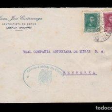 Sellos: *** CARTA LESACA (NAVARRA)-RENTERIA (GUIPÚZCOA) 1939. CENSURA MILITAR IRÚN AZUL ***. Lote 160841626