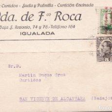 Sellos: CM2-84- TARJETA FÁBRICA DE CURTIDOS IGUALADA .1932. FRANQUEO MIXTO ALFONSO XIII / REPÚBLICA. Lote 160974926