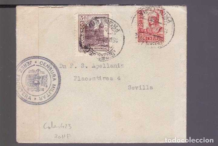CM2-82- GUERRA CIVIL CARTA JEREZ DE LA FRONTERA -SEVILLA 1937. LOCAL, FAJA Y CENSURA (Sellos - España - Guerra Civil - De 1.936 a 1.939 - Cartas)